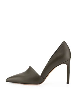 VINCE (Cossette)- Leather Point-Toe Pump, Military green
